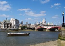 Scenic view over river Thames. With St Pauls cathedral in background, London, England Royalty Free Stock Image