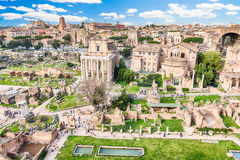 Scenic view over the ruins of the Roman Forum, Italy Royalty Free Stock Image