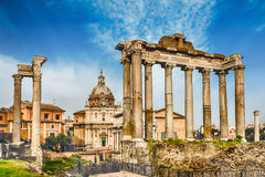 Scenic view over the ruins of the Roman Forum, Italy Stock Photo