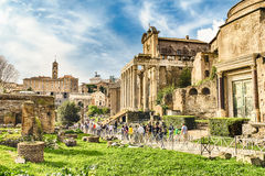 Scenic view over the ruins of the Roman Forum, Italy Stock Photography