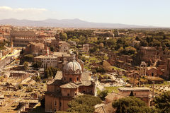 Scenic view over the ruins of the Roman Forum in Rome, Italy. Royalty Free Stock Image
