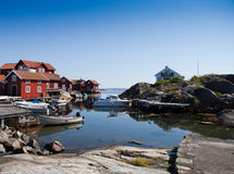 Scenic view over small harbor in Sweden. A small harbor on the swedish island of Käringön Royalty Free Stock Photography