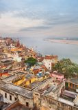 Scenic view over Varanasi from the roof Royalty Free Stock Photo