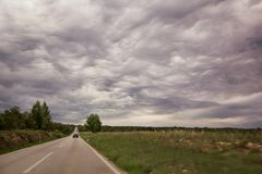 Scenic view on overcast clouds over high speed road leading through in Istria, Croatia, Europe / Beautiful natural environment. Stock Image
