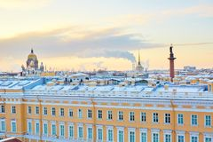 Scenic view of the Palace square in St. Petersburg Stock Image