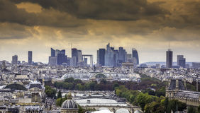Scenic view of Paris with La Defenseas background Royalty Free Stock Photography