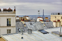 Scenic view of Parisian roofs and Eiffel tower from Montmartre Royalty Free Stock Photo