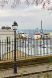 Scenic view of Parisian roofs and Eiffel tower from Montmartre Royalty Free Stock Photography
