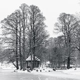 Scenic view in park with frozen lake. A scenic view in a park with a frozen lake and a gazebo Royalty Free Stock Photos