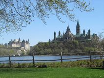 A scenic view of parliament hill in Ottawa from the quebec side stock photo