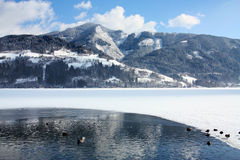 Scenic view of path around lake Stock Photography
