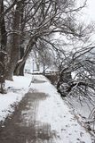 Scenic view of path around lake, Zeller See, Zell Stock Photos