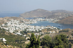 Scenic view of Patmos. The town of Skala, the main Royalty Free Stock Photos