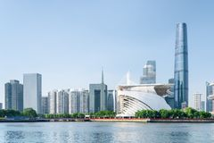 Scenic view of the Pearl River and modern buildings, Guangzhou royalty free stock images