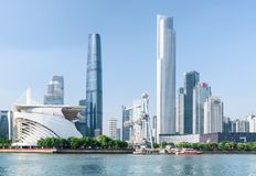 Scenic view of the Pearl River and skyscrapers, Guangzhou, China stock photos