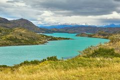 Scenic view of Pehoe lake Royalty Free Stock Images
