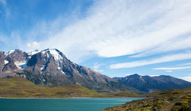 Scenic view of Pehoe lake in Torres del Paine Stock Photos