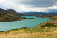 Scenic view of Pehoe lake in Torres del Paine Stock Image