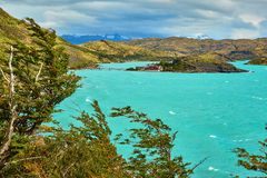 Scenic view of Pehoe lake in Torres del Paine Stock Images
