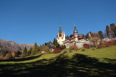 Scenic view of Peles Castle,Sinaia city and Bucegi Royalty Free Stock Images