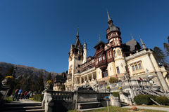 Scenic view of Peles Castle,Sinaia city and Bucegi Stock Image