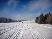 Scenic view on perfect nordic skiing trails near Nove Mesto na Morave. Czech-Moravian highlands, Czech Republic royalty free stock photography