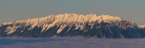 Scenic view of Piatra Craiului Mountains. Beautiful winter in Piatra Craiului mountains - Brasov Stock Photos