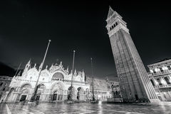 Scenic view of Piazza San Marco at night in monochrome style, Venice Stock Images