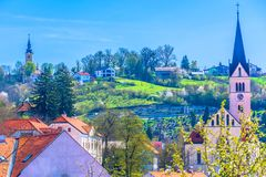 Colorful scenery in Krapina town, springtime. royalty free stock images