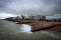 Scenic view of piers near Eastbourne town, England stock photo