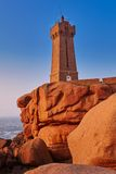 Scenic view of pink granite coast at sunset. In Brittany, France Stock Photos