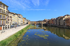 Ponte Vecchio (Golden Bridge) and Arno river, Florence - Italy Stock Photo