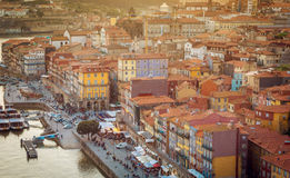 Scenic view of Porto old town and Douro river Stock Photos