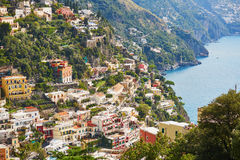 Scenic view of Positano, beautiful Mediterranean village on Amalfi Coast, Italy Stock Photos