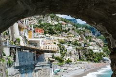 Scenic view of Positano town, Amalfi coast, Italy stock image
