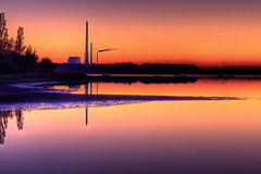 Scenic view of Power Plant in sunset Royalty Free Stock Image