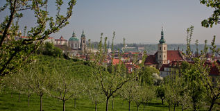 Scenic View in Prague. Panoramic View from Petrin Park towards Saint Nikolas Cathedral built in Barocco Style, Prague stock photo