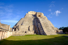 Scenic view of prehistoric Mayan pyramid in Uxmal. Mexico Stock Photos