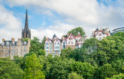 Scenic view from from Princes Street Gardens, Scotland. Princes Street Gardens is a public park in the centre of Edinburgh, Scotland, in the shadow of Edinburgh royalty free stock photos