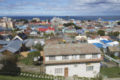 Scenic view of Punta Arenas and Magellan strait in Punta Arenas, Chile. Stock Photography
