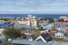 Scenic view of Punta Arenas and Magellan strait in Punta Arenas, Chile. Stock Photo