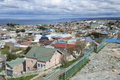 Scenic view of Punta Arenas and Magellan strait in Punta Arenas, Chile. Stock Photos
