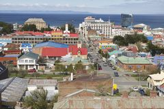 Scenic view of Punta Arenas and Magellan strait  in Punta Arenas, Chile. Royalty Free Stock Photo