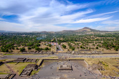 Scenic view from Pyramid of sun in Teotihuacan, near Mexico city Stock Photos