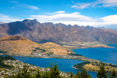 Scenic view of Queenstown and Remarkables mountain range, NZ Stock Image