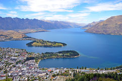 Scenic view of Queenstown and surrounding rugged mountain range The Remarkables Royalty Free Stock Images