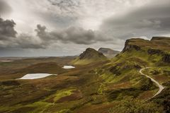 Scenic view of Quiraing mountains in Isle of Skye, Scottish high royalty free stock images