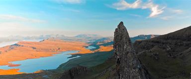 Scenic view of Quiraing mountains in Isle of Skye, Scottish highlands, United Kingdom.  stock photography