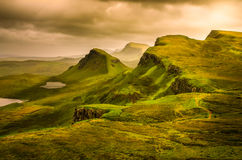 Scenic view of Quiraing mountains sunset with dramatic sky, Scot royalty free stock photo