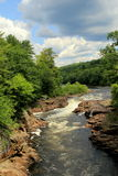 Scenic view of raging river surrounded by lush greenery Royalty Free Stock Photos